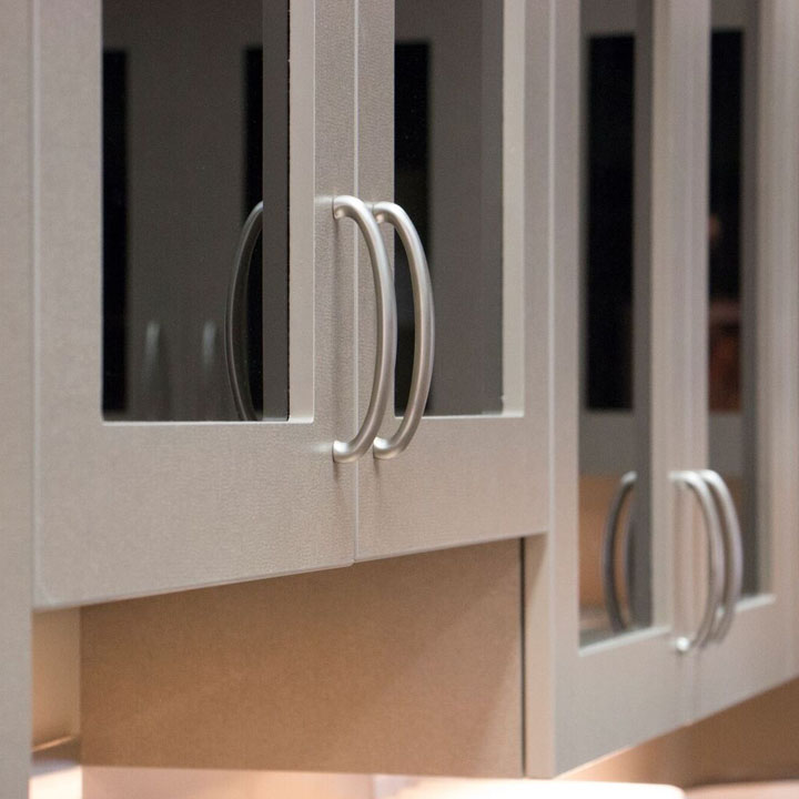 Silver cabinet doors with glass panes