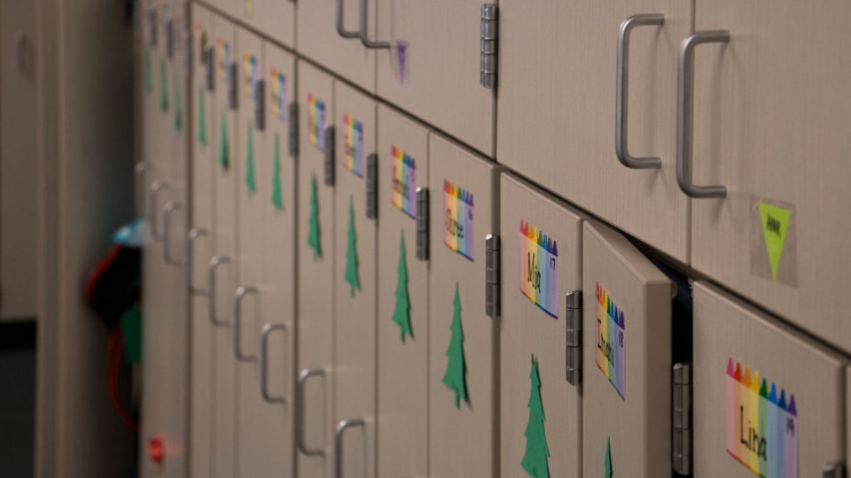 Close up of student lockers with their names on it